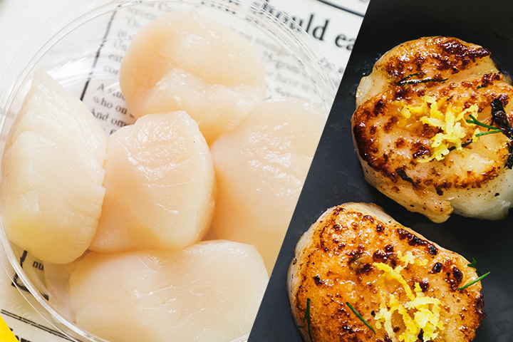 raw scallops side by side with lovely seared scallops.